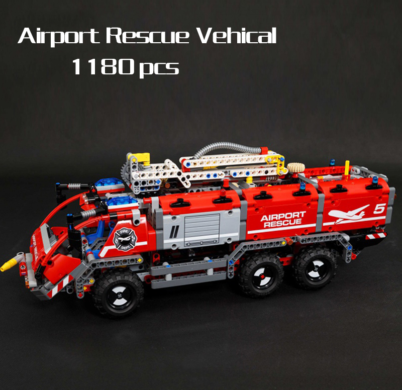 In Stock Lepin 20055 Technic Series Airport Rescue Vehicle Set Children Educational Building Blocks Bricks Legod 42068 Toy Gifts lepin technic 20055 the rescue vehicle set 1180pcs building blocks toys for children bricks compatible legoing technics 42068