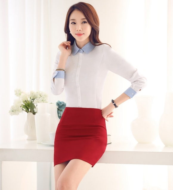 Novelty Fashion Formal OL Styles Work Wear Suits With Tops And Skirt Spring Autumn Female Shirts Tops Skirt Suits Outfits