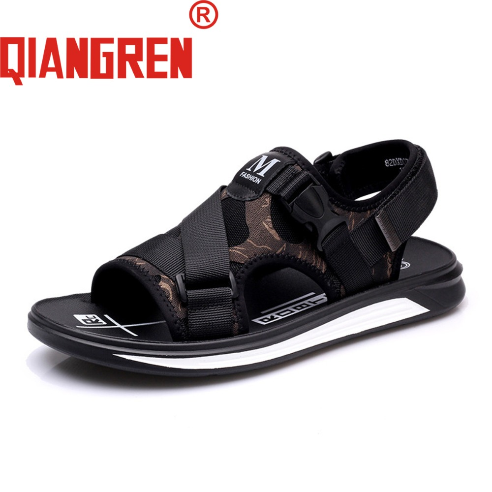 9f3c8a7658c18 QIANGREN Military Brand New Arrive Men Summer Nylon Beach Sandals Black  Fashion Hook Loop Buckle Outdoors Casual Shoes Slippers