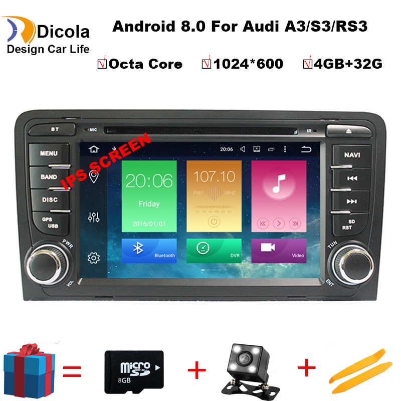 4 gb RAM Android 8.0 Auto DVD Player Multimedia für Audi A3/S3 2002-2011 mit Canbus Bluetooth WIFI GPS Navigation Radio Freies Karten