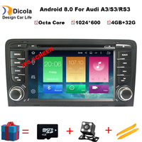 4GB RAM Android 8.0 Car DVD Player Multimedia for Audi A3/S3 2002 2011 with Canbus Bluetooth WIFI GPS Navigation Radio Free Maps