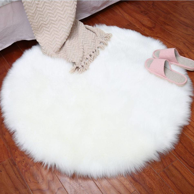 Whism Imitation Wool Fluffy Rugs Chair Cover Carpet Bedroom Faux Mat Seat Pad Washable Warm Round