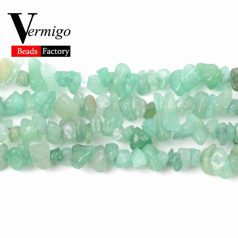ลูกปัดหินธรรมชาติสีเขียว Aventurine ไม่สม่ำเสมอกรวดลูกปัดสำหรับเครื่องประดับทำ 3-5-8-12mm Diy สร้อยข้อมือสร้อยคอ 16 นิ้ว
