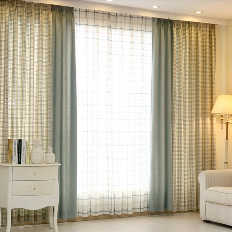 100 cotton american style plaid splice green curtains for living room