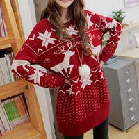 2017 Fashion Pullover Sweater Ladies Knitted Women Sweater Christmas Red Deer Snowflake Printed Warm Loose Sweater Dress Women