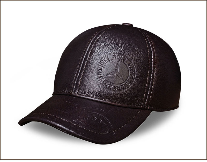 Genuine Leather Embossed Mens Baseball Cap - Brown Angle View