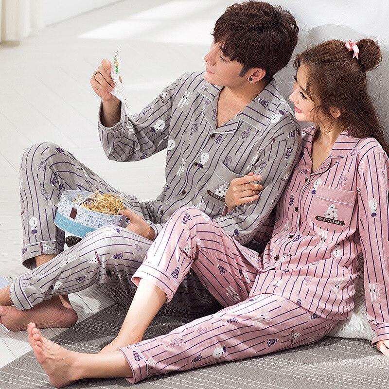 f975a81119 Couples Pajamas Women Lovers Sleepwear Spring Autumn 100% Cotton Pajama Set  Pyjamas Men Sleep Lounge Womens Pajamas