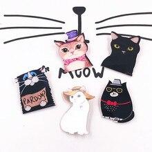 1 шт. Kawaii Белая черная кошка модная собака популярная аниме мультфильм акриловая брошь нашивки на рюкзаке Броши Булавки значок одежды