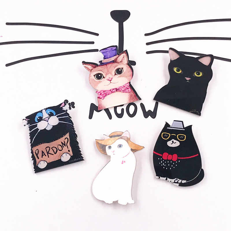 1PCS Kawaii White Black Cat Fashion dog popular Anime cartoon Acrylic Brooch Badges on Backpack Brooches Pins Clothing Icon