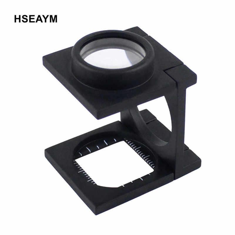 9008A 20X regla de Metal plegable escala lupa de la lupa K9 óptico Lentes de vidrio negro de la pintura de aerosol de lupa
