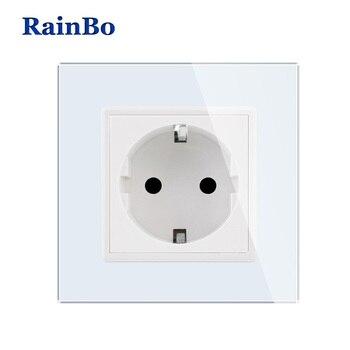 RainBo ยี่ห้อใหม่กำแพง EU มาตรฐาน EU มาตรฐานซ็อกเก็ตแผงคริสตัลแก้วคริสตัลสีขาว AC 110 ~ 250 V 16A ซ็อก