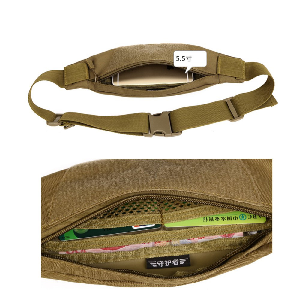 Sport Bag Wear-Resistant Nylon Anti-Tear Outdoor Mens Pack Waist Belt Bag Purse Hip Pouch Travel Cycling Hiking Anti-Theft