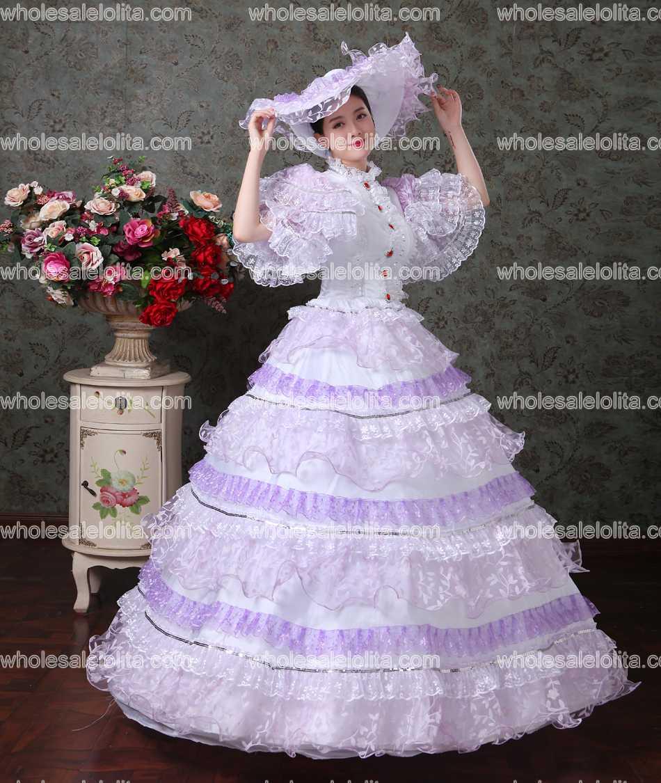 Lila Spitzen Vampir Masquerade Ball Kleid Burgerkrieg Southern Belle