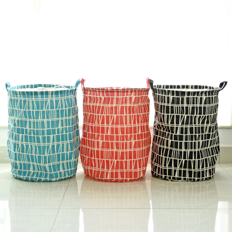 Cotton Linen Abstract Geometric Black Blue Red With Handle Z Vintage Storage Laundry Basket Fold