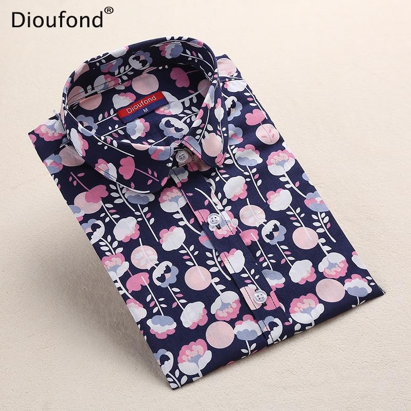 Dioufond nove ženske bluze s cvetličnim tiskom bombažne majice - Ženska oblačila