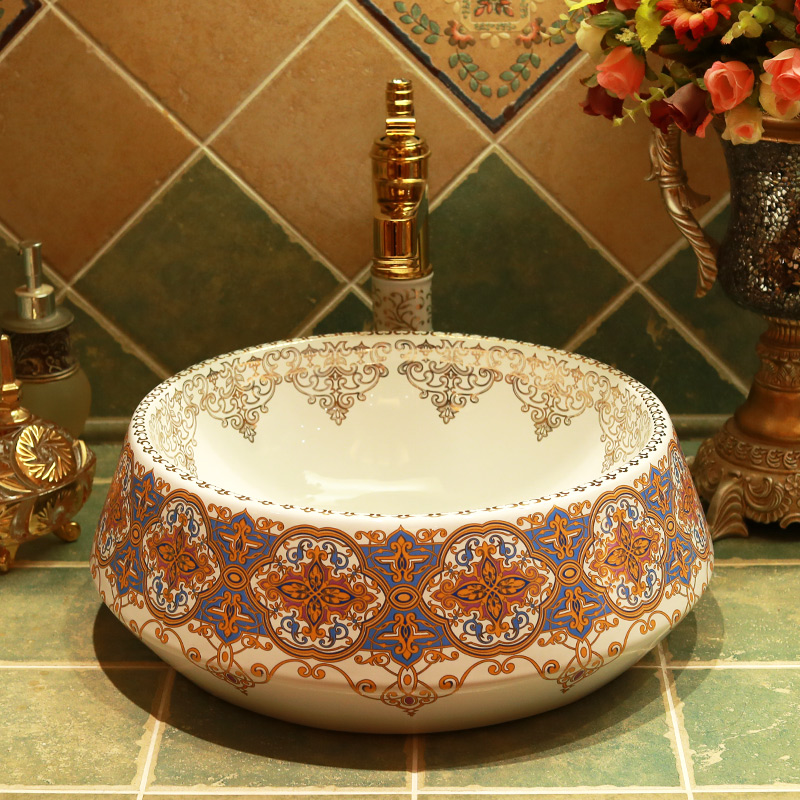 Round porcelain bathroom vanity bathroom sink bowl countertop Ceramic wash basin bathroom sink
