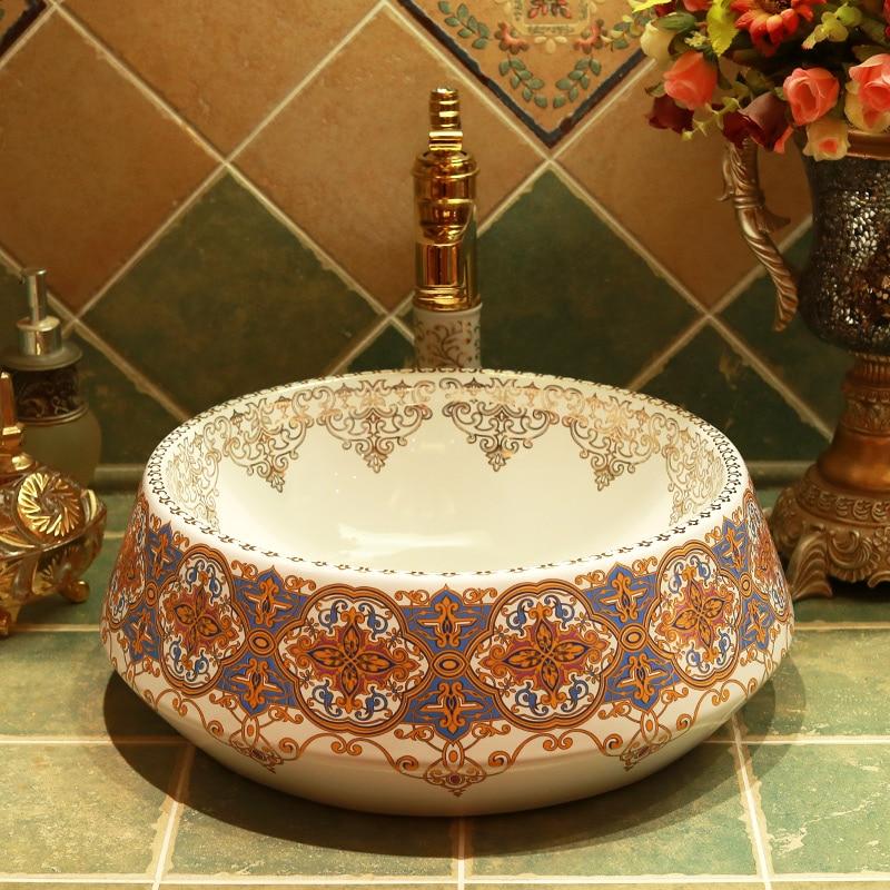 Round porcelain bathroom vanity bathroom sink bowl countertop Ceramic wash basin bathroom sink