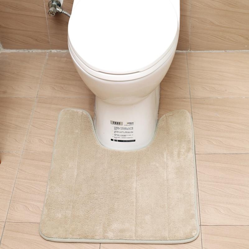 Coral-Fleece-Carpet-Bathroom-U-Shaped-Memory-Foam-Bath-Mats-Rug-Anti-slip-Floor-Carpets-For