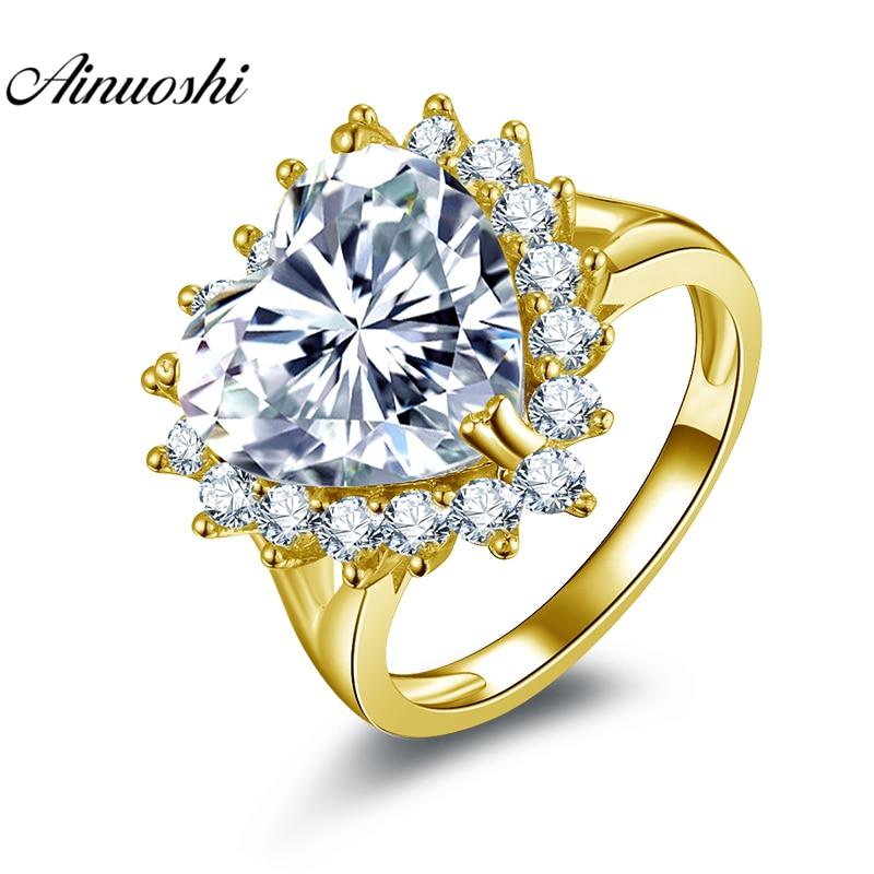 AINUOSHI 14 K solide or jaune coeur Halo anneau 6ct coeur coupe jaune pierre anneau de luxe mariage fiançailles bijoux cadeau femmes anneau