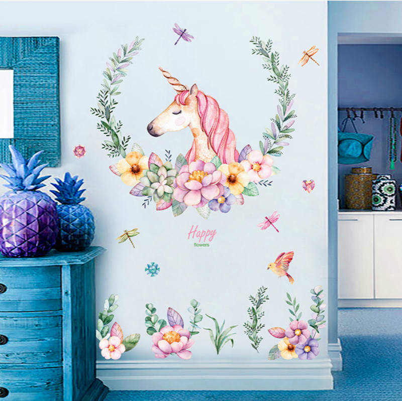 Cartoon Unicorn Star Wall Stickers For Kids Rooms Girls Bedroom Decor Animal Art Party House Decoration Maison Organizer Pink(China)
