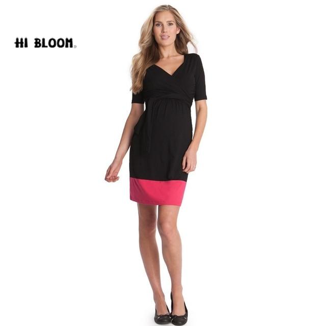 15f778e73a40d مرحبا بلوم جديد أزياء الصيف الأمومة اللباس الركبة طول الملابس للحمل النساء  الحوامل أنيقة السهرة حزب