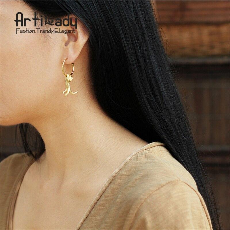 Artilady 925 sterling silver cat earrings for women jewelry gift party dropshipping artilady 925 sterling silver stud earrings delicate geometry natural stone earrings women jewelry for party gift
