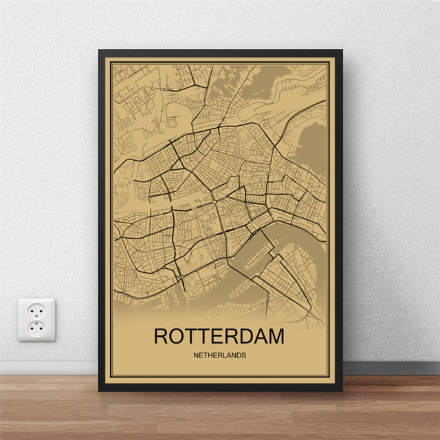 Rotterdam world map vintage poster retro painting krafts paper art rotterdam world map vintage poster retro painting krafts paper art wall picture living room cafe bar gumiabroncs Gallery