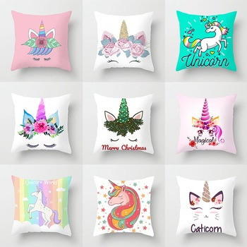Cartoon Unicorn Throw Pillow Case