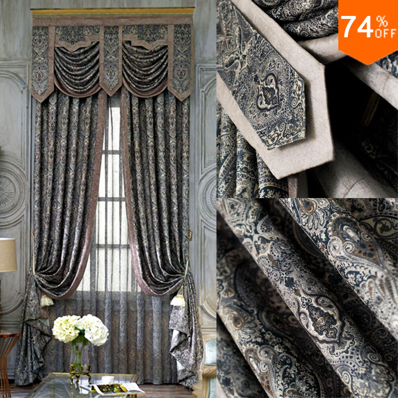 Black embroidery black out curtains dark grey study room Dark curtains small room