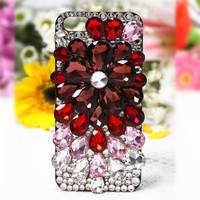 For IPhone 5 5S 6 6S 7 8 Plus X Luxury Crystal Diamond Colorful Big Flower