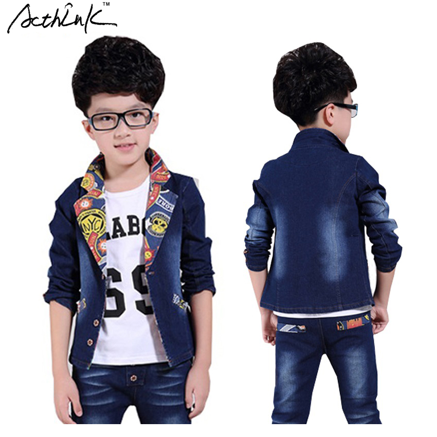 ActhInK 2016 New Kids Spring & Winter Denim Casual Suit for Boys Brand England Style Children Jeans Suit Boys Clothing Set,YC062 2015 new arrive super league christmas outfit pajamas for boys kids children suit st 004