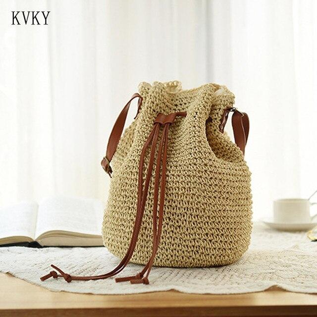 KVKY 2018 Bohemian Woven Drawstring Beach Bucket Shoulder Bag Travel Handbag Women Summer Crochet Straw Beach Bags Bolsa