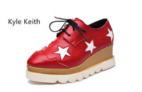 Kyle Keith Brands Flat Shoes Women Square Head Platform Shoes Fashion Red White Black Oxford Flats