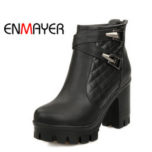 ENMAYER Woman High Heel Ankle Boots Round Toe Zippers Shoes Women Large Size Platform Boots Warm Shoes for Ladies Black White