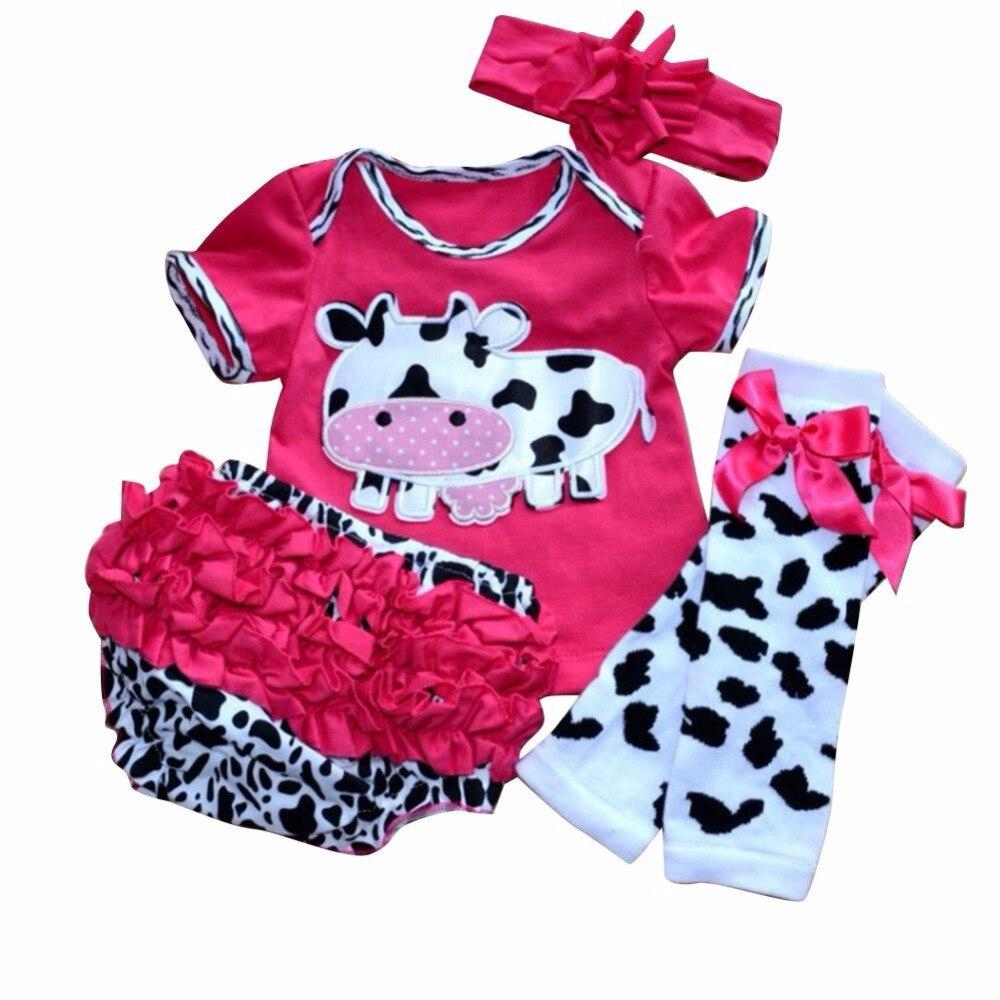 WENDYWU newborn baby girl clothing set Ruflled Kids Clothes Romper Leg warmer Headbands Bloomer cartoon cow 4pcs roupas de bebe