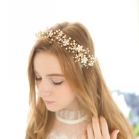 New Design Floral Headband Pearl Hair Jewelry Vine Women Headpiece Vintage Wedding Hair Accessories Gold Bridal