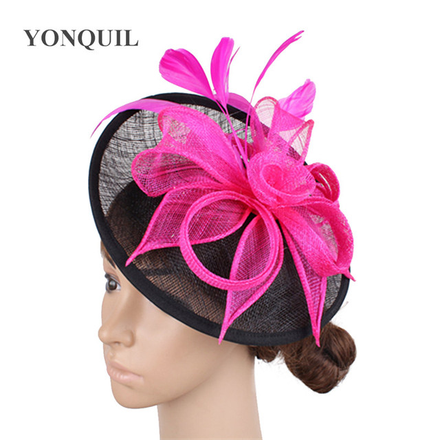 5f984836f3536b Big sinamay hats feather flower ladies hats hair fascinators for party hat  bridal hair accessories wedding