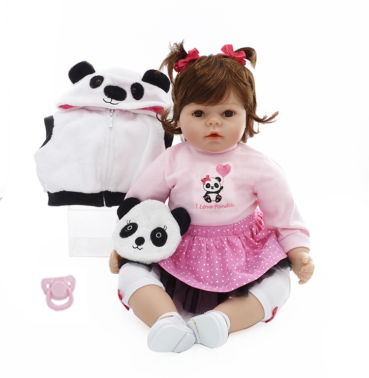 Pursue 20/51 cm China Panda Baby Girls Reborn Lovely Babies Reborn Soft Body Silicone Limbs Toddler Toys Birthday Gift Playmate lovely giant panda about 70cm plush toy t shirt dress panda doll soft throw pillow christmas birthday gift x023