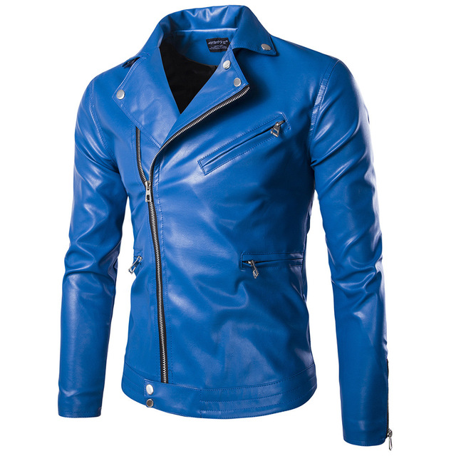 Plus Size Autumn Men's Slim Blue  motorcycle Leather Jacket  Nightclub male singer stage show performance wear