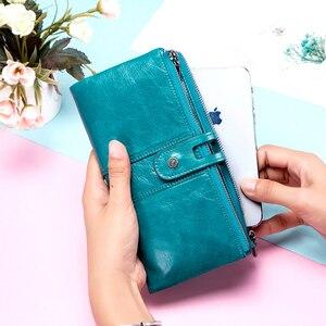 Image 3 - Kontakt z prawdziwej skóry kobiet portfel kobiet monety kiesy długi Walet Zipper cartera mujer etui na telefon portfel damski portfel na karty