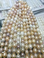 Real Natural Freshwater pearl 10 11MM white pink purple pearl mixed oval pearl Loose Beads one strands 35cm 15'' DIY gift