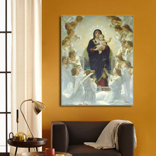 Regina Angelorum Famous Canvas Painting Calligraphy By Bouguereau Home Christian Decor Wall Art Picture for Living Room