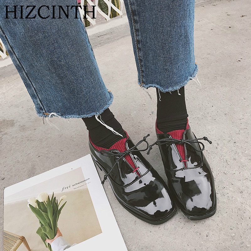 HIZCINTH Spring 2018 New Patent Leather Shoes Vintage Flats Single Shoes Woman Square Toe Casual Loafers Ladies Branded Shoes hizcinth 2018 spring women shoes shallow lace up square toe single shoes woman geometric stars casual flats platform shoes