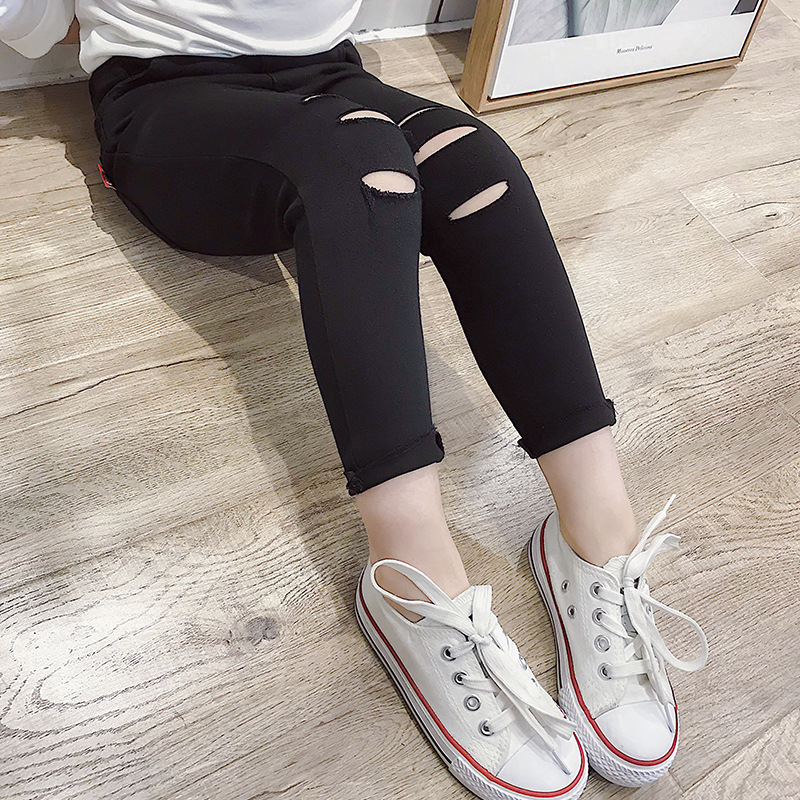 Ripped Jeans For Girls 3 4 5 6 7 8 9 10 11 Years Toddler Girl Clothing 2018 New Fashion Autumn Kids Clothes Denim Pant Trousers simwood 2018 summer new jeans men ripped ankle length fashion hole hip hop denim trousers slim fit streetwear plus size 180116