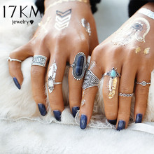 17KM 8pcs/Set Midi ring Sets for Women Boho Anel Beach Vintage Tibetan Turkish Crystal Silver Color Flower Knuckle Rings Gift