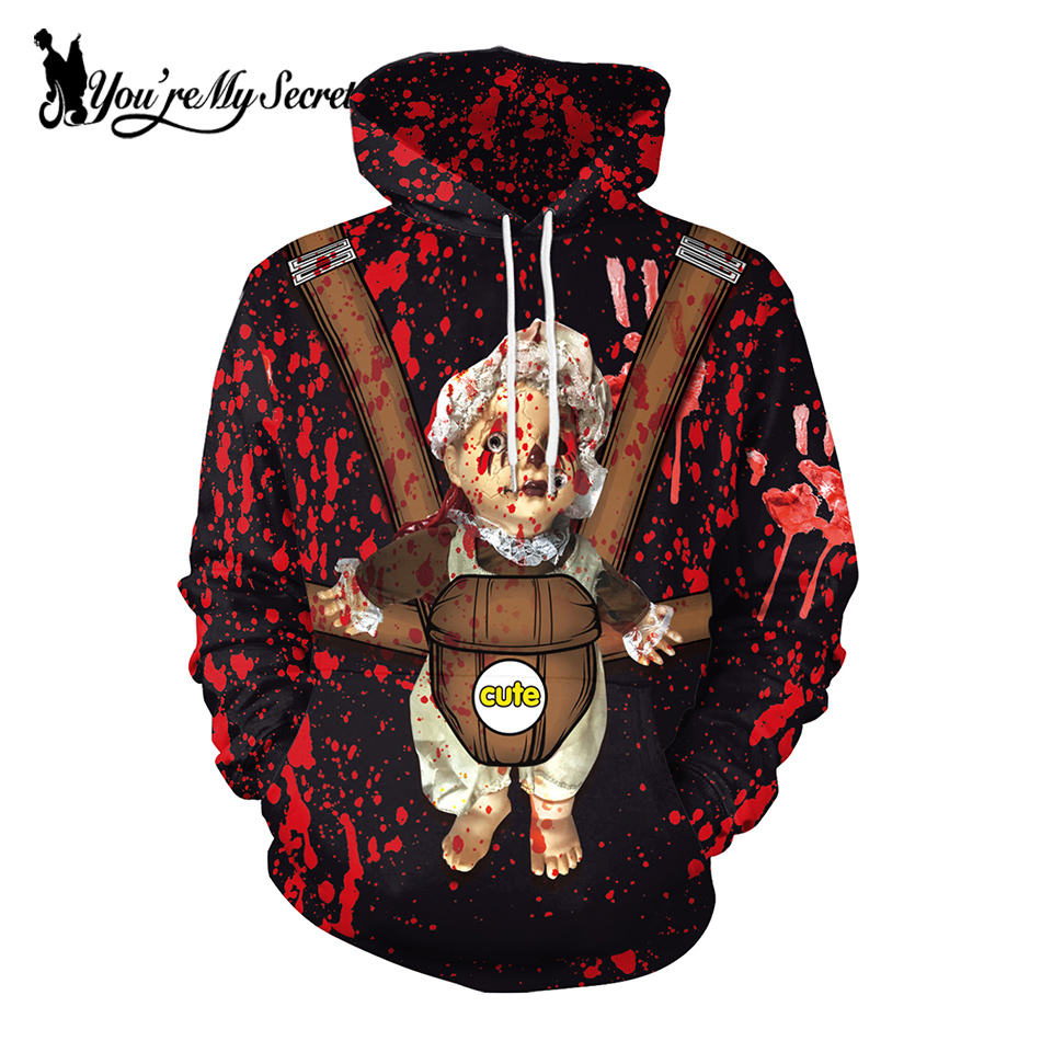 [You're My Secret] 2019 Halloween Festival Blood Hand Scary Baby Cartoon Unisex Long Sleeve Digital Hooded Hoodie Sweatshirt