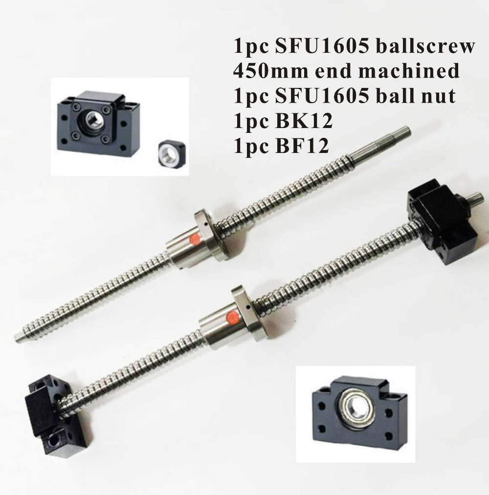 CNC Ballscrew SFU1605 Set : Ball screw SFU1605 L450mm End Machined + SFU1605 Ball Nut + BK12 BF12 End Support for Ballscrew ball screw sfu1605 550 end machine with bk12 bf12 end support bearing mounts 1set
