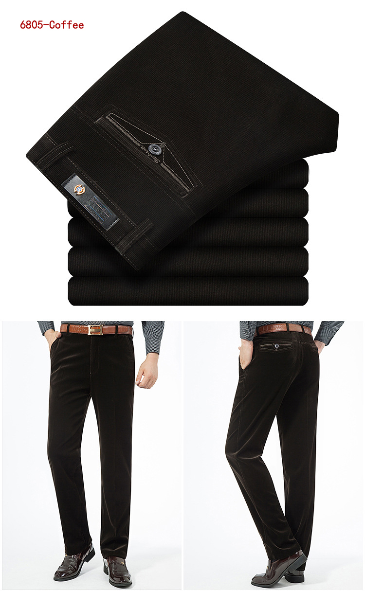 HTB1QNQWKf9TBuNjy0Fcq6zeiFXaF Autumn Spring corduroy trousers men's leisure pants high waist straight middle-aged wash and wear business casual corduroy pants