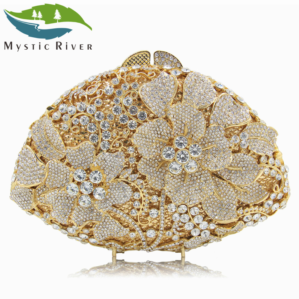 Mystic River Women Evening Bags Top Quality Clutch Purses Two Flower Crystal Party Clutches Bag luxury crystal clutch handbag women evening bag wedding party purses banquet
