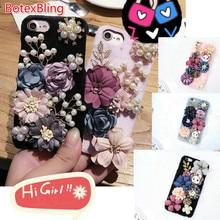 BotexBling Cute Cartoon DIY Rabbit Flower Plush Diamond Phone Case for iphone 8 8plus 7 7plus 6 6s plus 6plus hard back cover